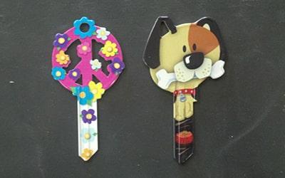 Designer Keys peace sign and dog