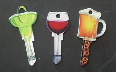 Designer Keys wine and beer