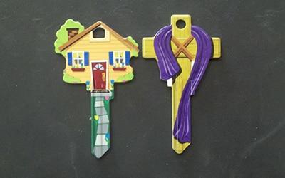 Designer keys house and cross